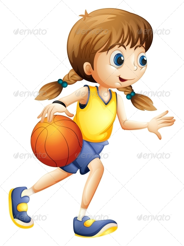 Kid N Play Cartoon Characters : Girl playing basketball by interactimages graphicriver