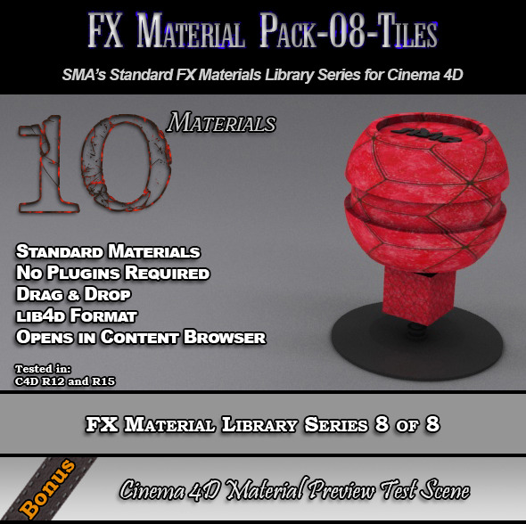 Standard FX Material Pack-08-Tiles for Cinema 4D - 3DOcean Item for Sale