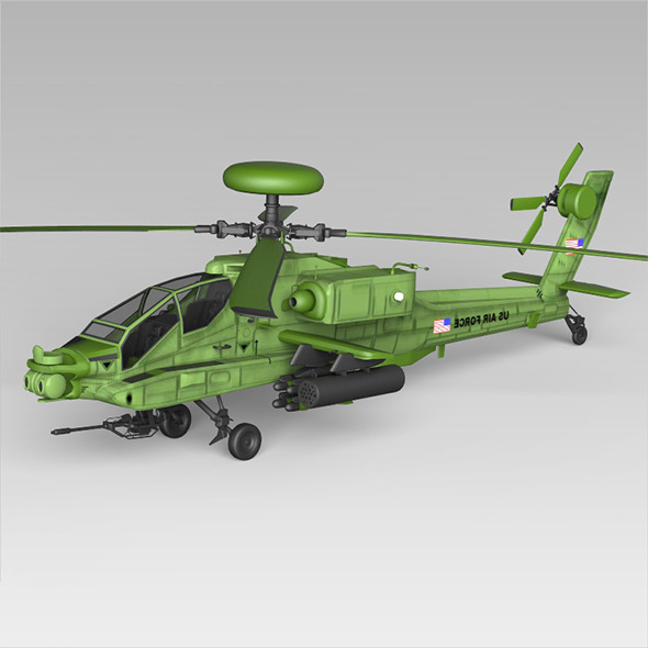 Apache 64 Fighter Helicopter - 3DOcean Item for Sale