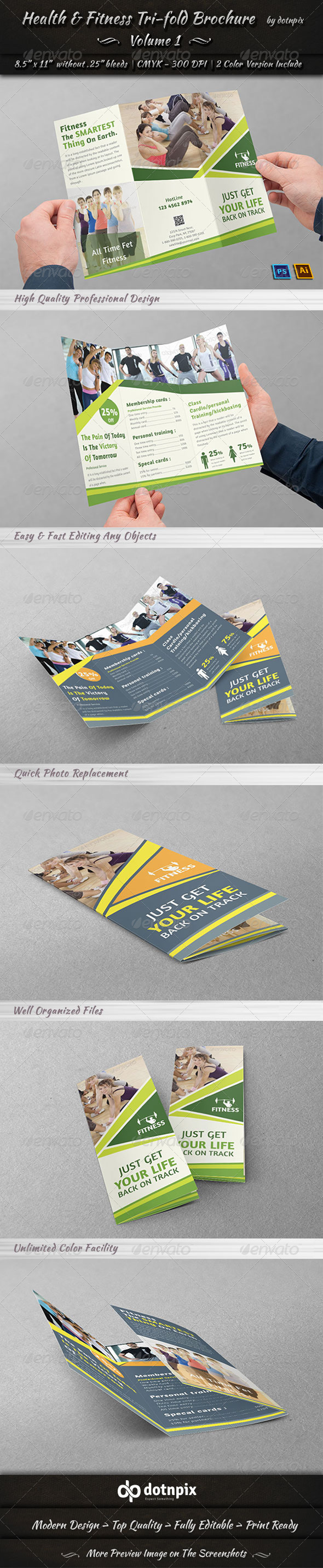 Health & Fitness Tri-Fold Brochure | Volume 1 - Corporate Brochures