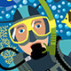 Diver With Underwater Plants And Tropical Fishes - GraphicRiver Item for Sale