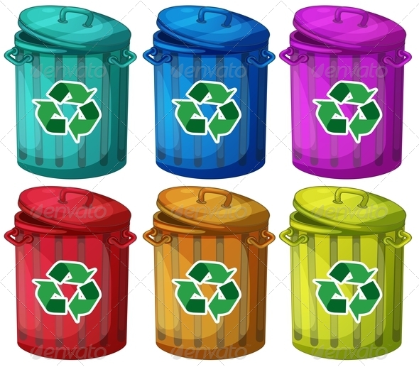 Six Recycling Garbage Cans - Man-made Objects Objects