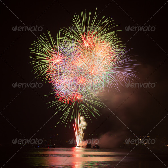 Fireworks in the night sky - Stock Photo - Images