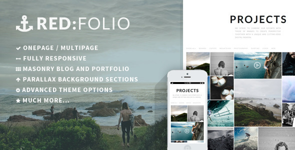 Redfolio – a Responsive OnePage WordPress Theme