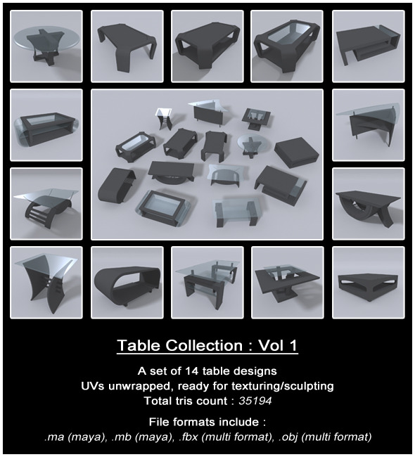 Table Collection : Vol 1 - 3DOcean Item for Sale