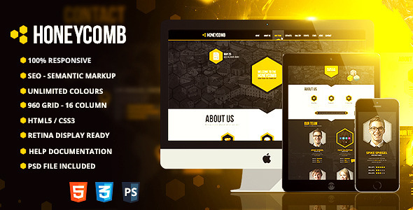 Honeycomb - Responsive One Page HTML5 Template - Creative Site Templates