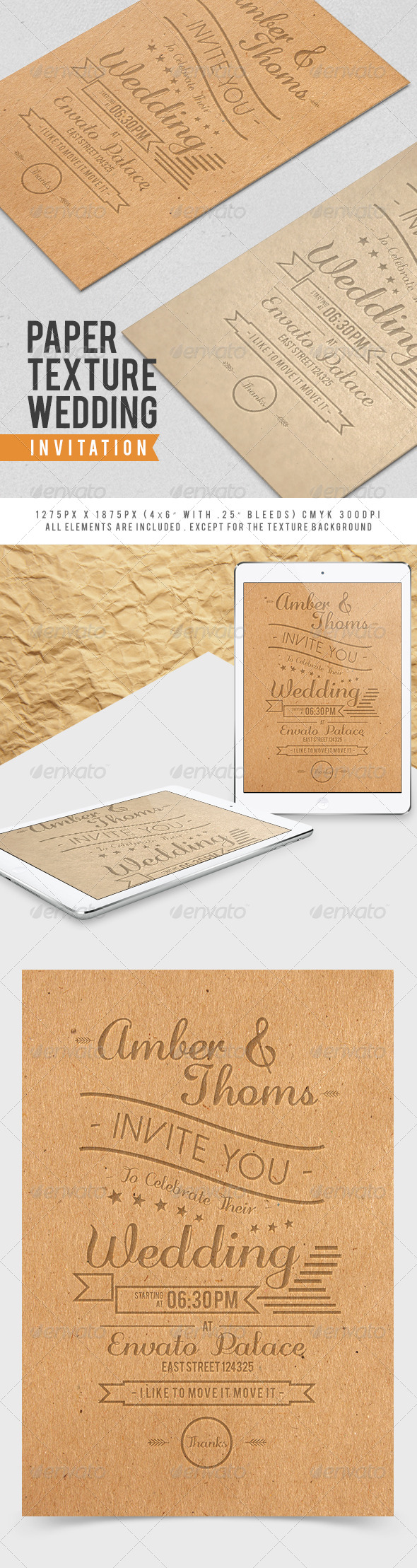 Paper Texture Wedding Invitation - Weddings Cards & Invites