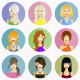 Avatars Of Beautiful Women In Flat Design - GraphicRiver Item for Sale