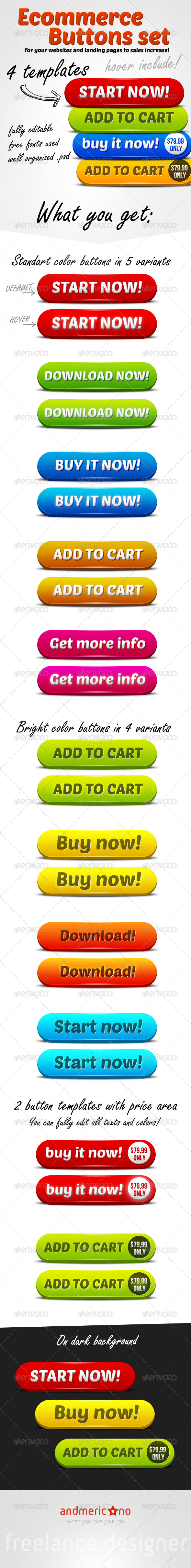 Ecommerce Big Buttons Set - Buttons Web Elements
