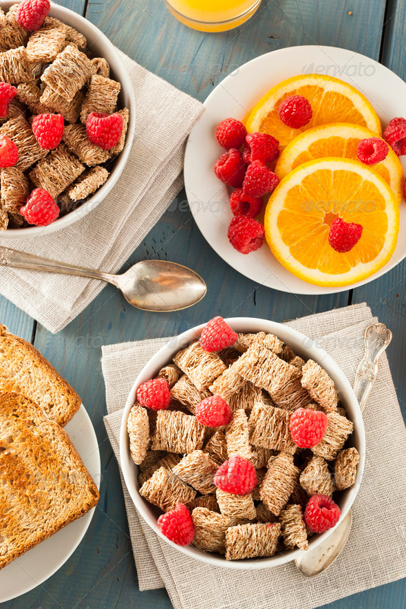 Healthy Whole Wheat Shredded Cereal - Stock Photo - Images