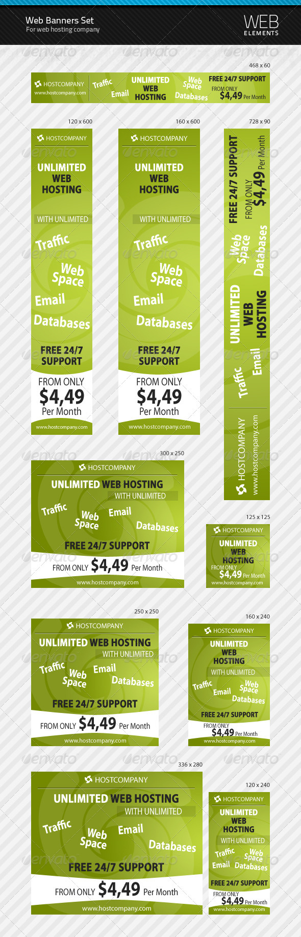 Web Banners Set for Web Hosting Company - Web Elements