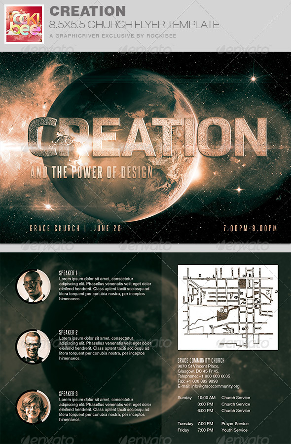creation church flyer invite template by rockibee graphicriver