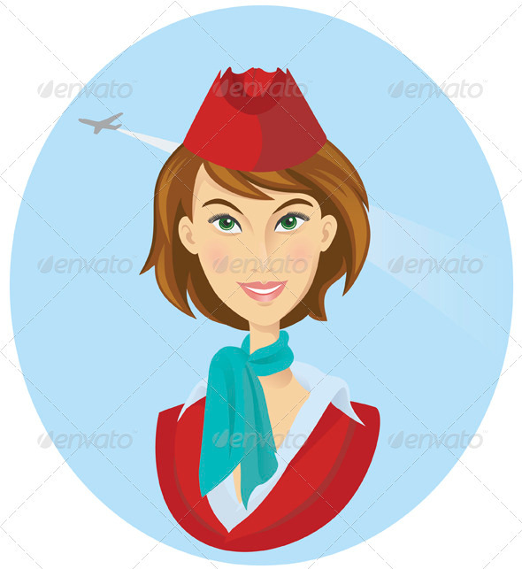 Smiling Stewardess In Uniform - People Characters