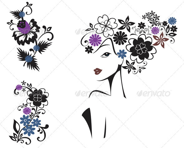 Elegant Woman In Flowers  - People Characters