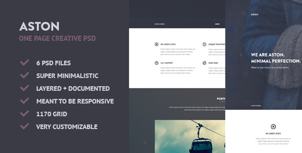 ASTON – Minimalistic Creative One Page PSD
