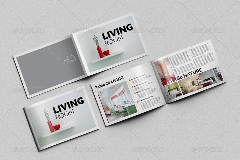 Bi fold horizontal brochure mockups by kongkow graphicriver for Horizontal brochure design