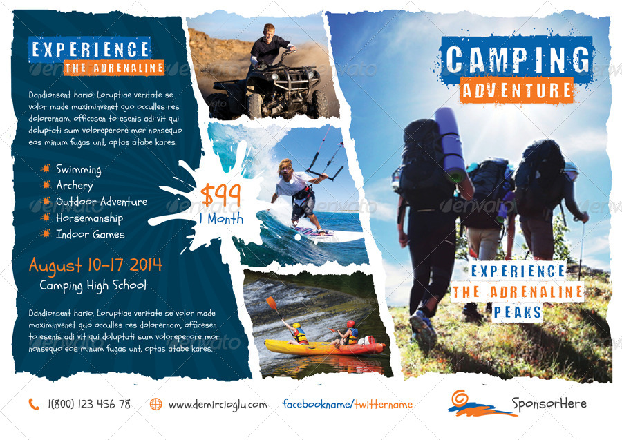 Camping Adventure Flyer Templates by grafilker – Camp Flyer Template