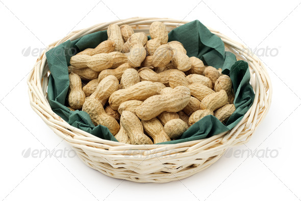 peanuts in basket - Stock Photo - Images