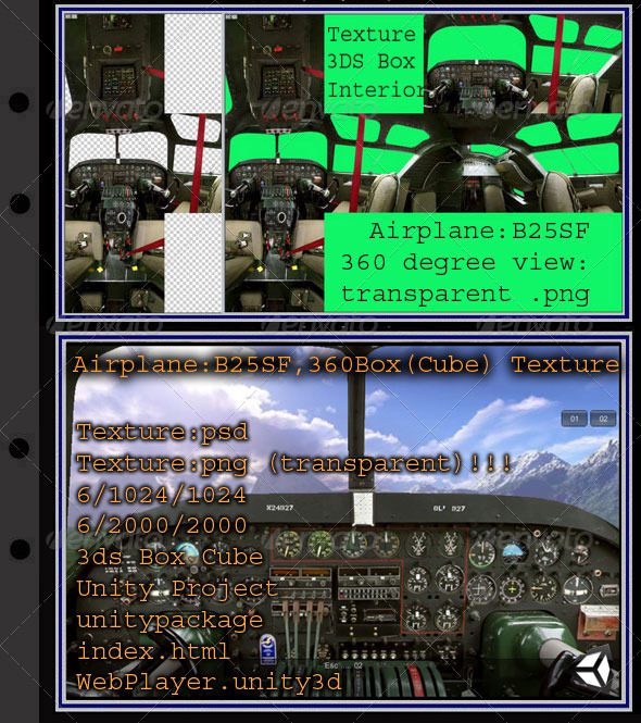 Airplane B25SF interior - 3DOcean Item for Sale