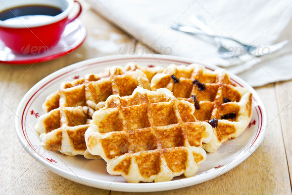 Waffle by Caramel sauce and coffee - Stock Photo - Images