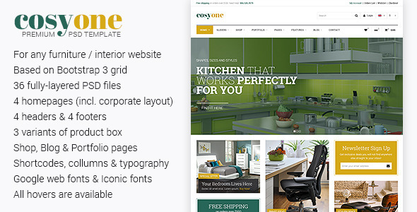 CosyOne – Premium Furniture/Interior PSD Template