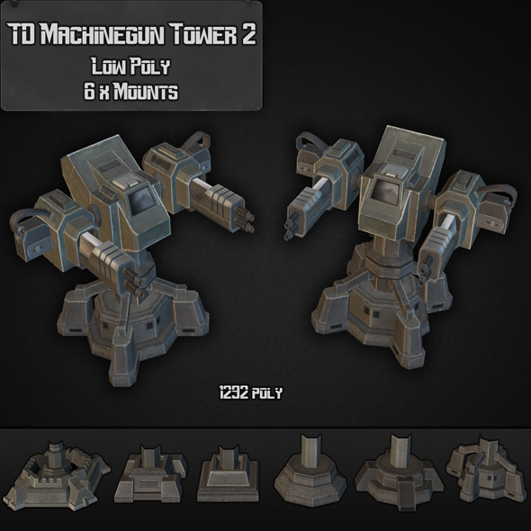 TD Machinegun Tower 02 - 3DOcean Item for Sale