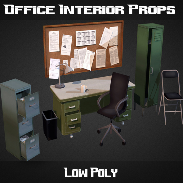Office Interior Props - 3DOcean Item for Sale