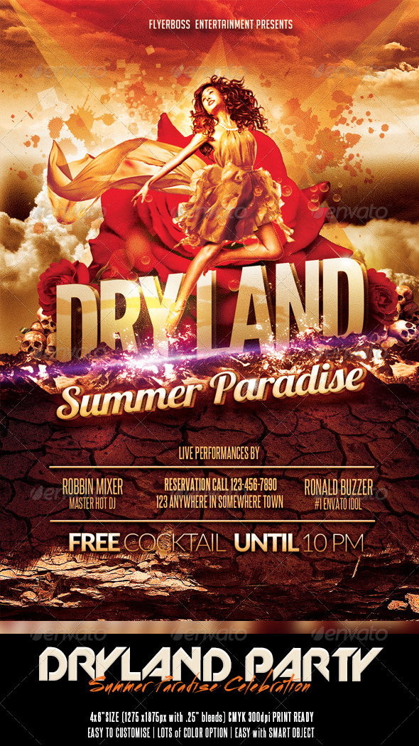 Dryland - Summer Paradise - Events Flyers