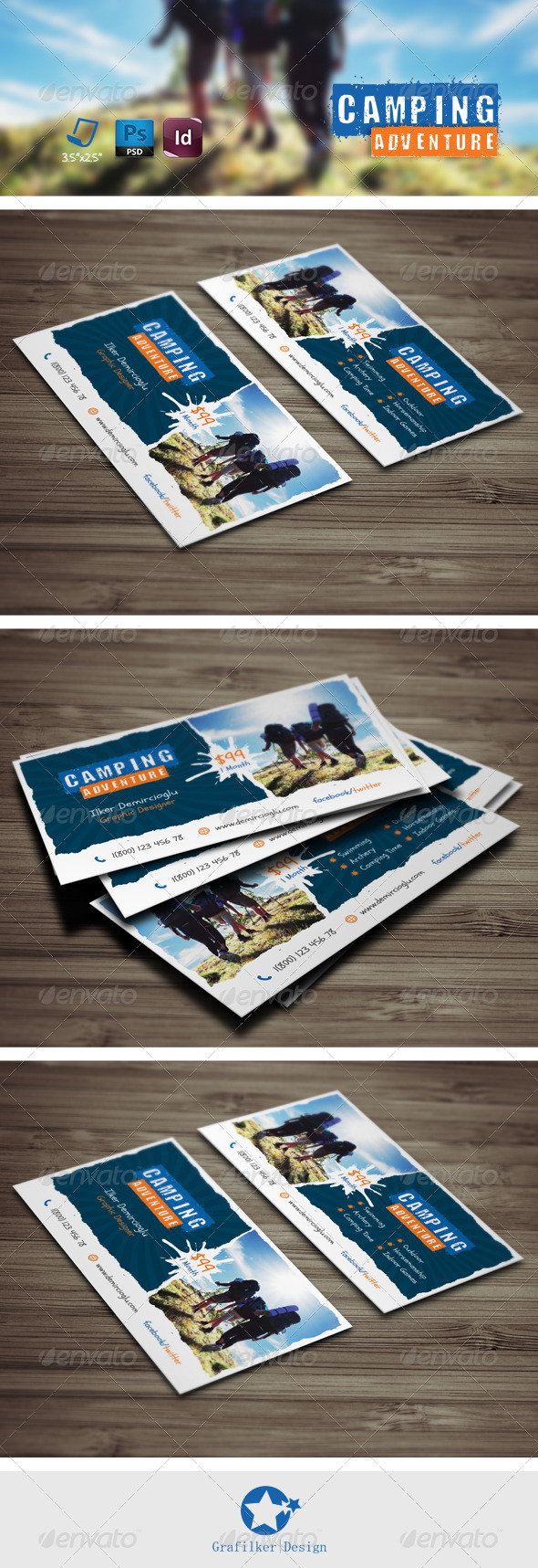 Camping adventure business card templates by grafilker graphicriver camping adventure business card templates cheaphphosting Images