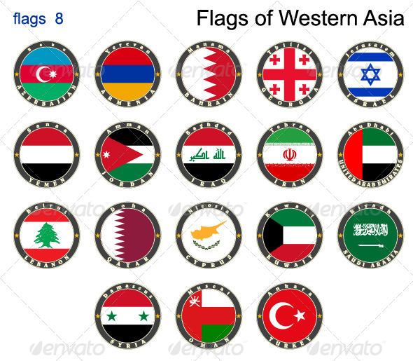 Flags of Western Asia - Web Elements Vectors