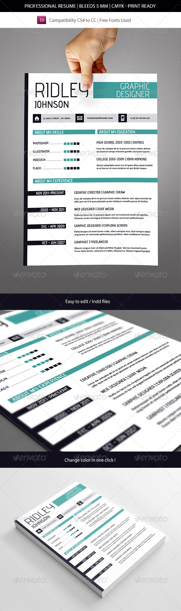 Creative Indesign Resume Template - Resumes Stationery
