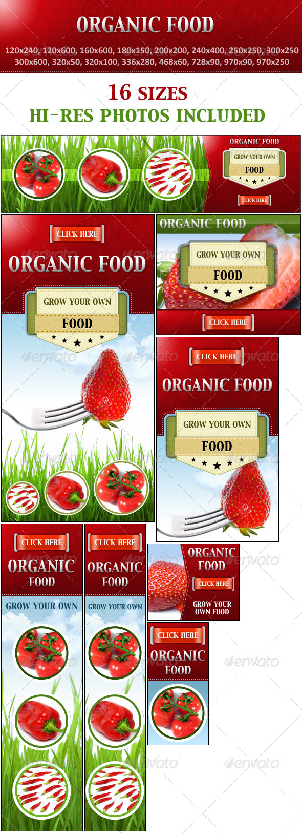 Organic Food - Grow Your Own Food - Banners & Ads Web Elements