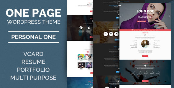 Personal One – OnePage / VCard / WordPress Theme