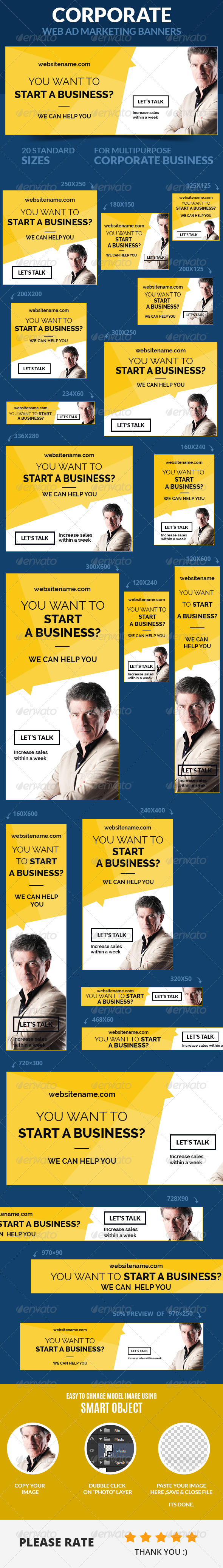 Corporate Web Ad Marketing Banners - Banners & Ads Web Elements