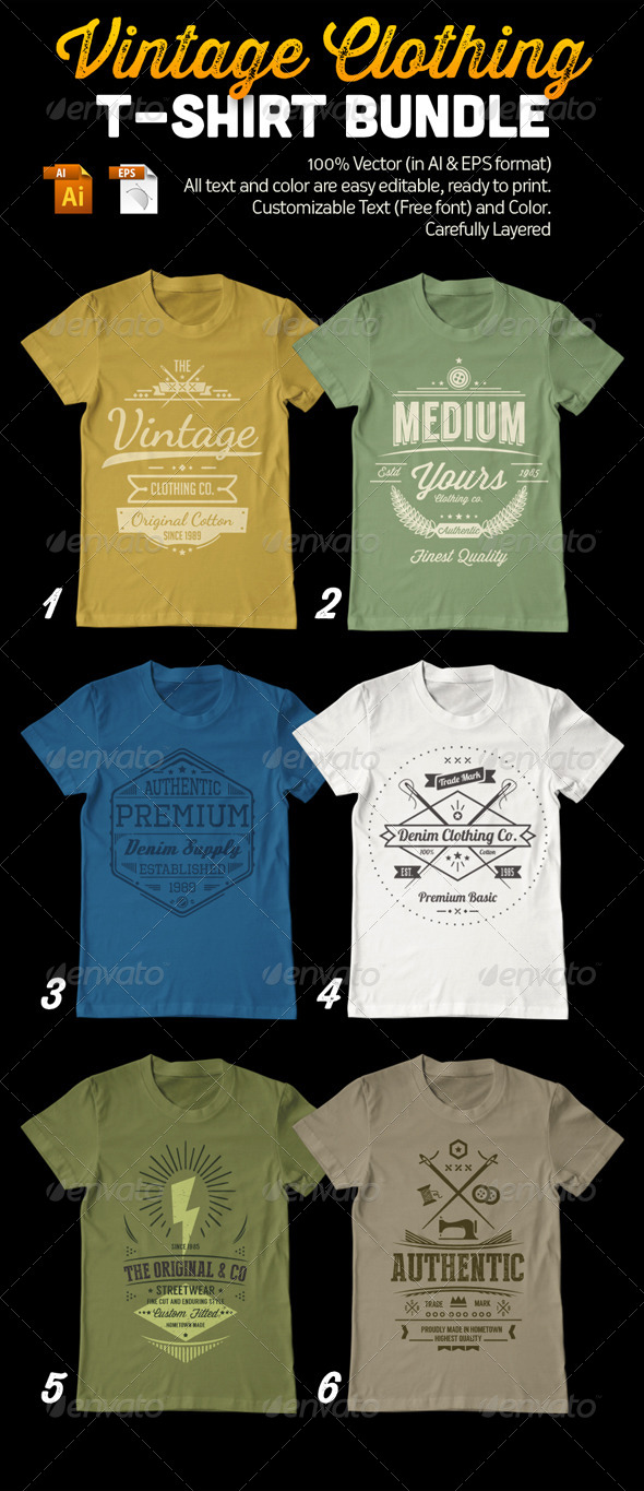 Vintage Clothing T-Shirt Bundle - Designs T-Shirts