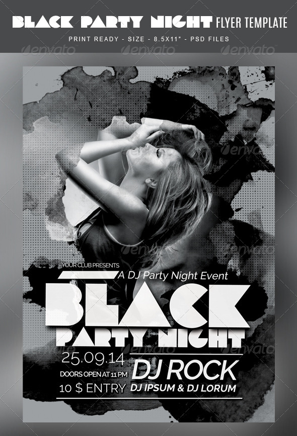 Black Party Flyer Template By Studiorgb  Graphicriver