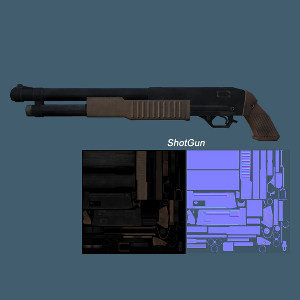 Low Poly ShotGun - 3DOcean Item for Sale