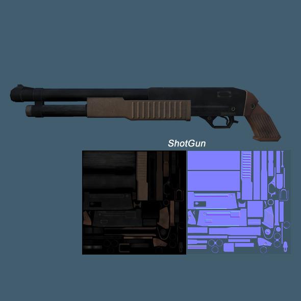 Low Poly ShotGun - 3DOcean Item for Sale
