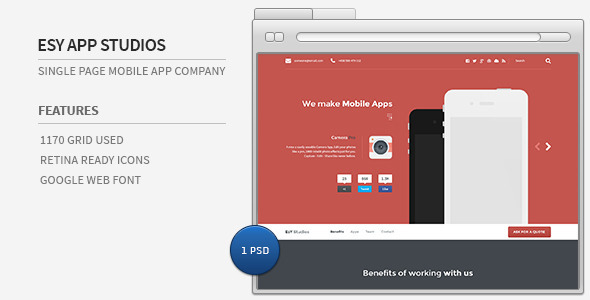 EsY App Studios – Single Page Mobile App Company