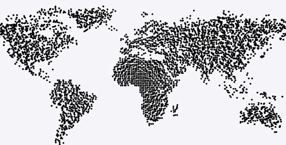 World Map Particle Formation Black White By Videomagus Videohive