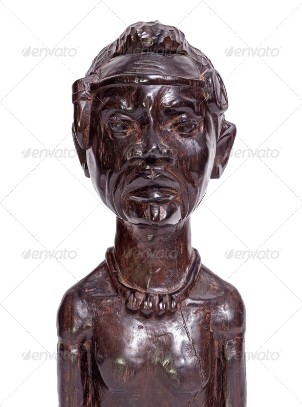 African traditional man bust statuette - Stock Photo - Images