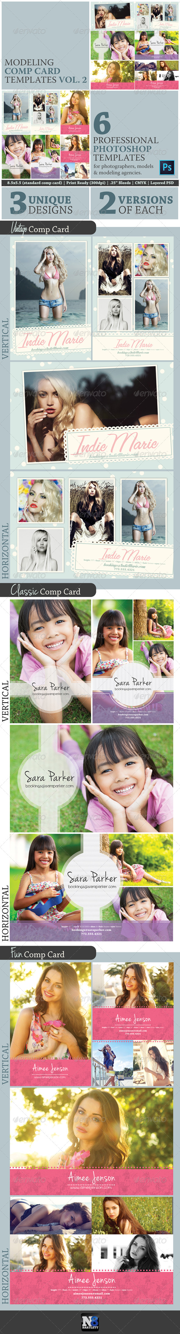 Model Comp Card Template Kit Vol. 2 - Miscellaneous Print Templates