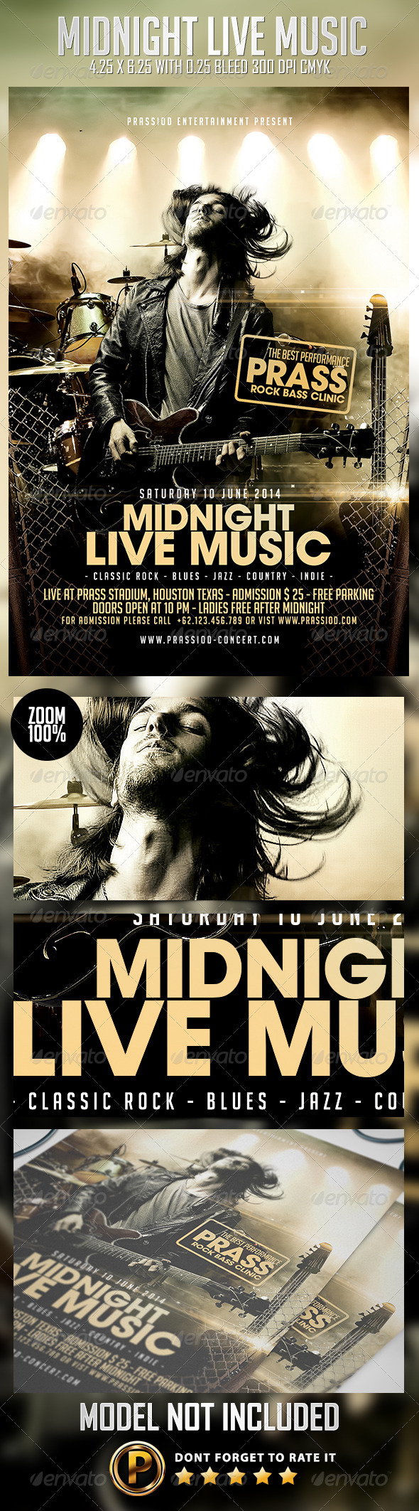 Midnight Live Music Flyer Template - Concerts Events