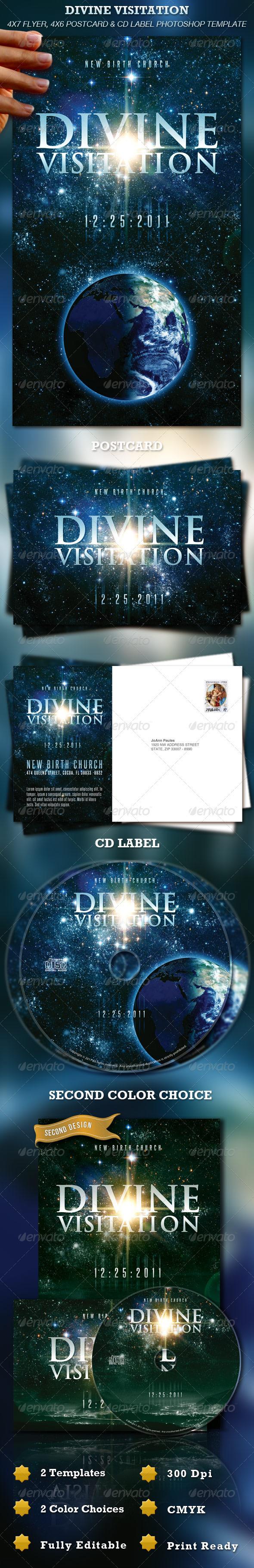 Divine Visitation Flyer, Postcard & CD Label - Church Flyers