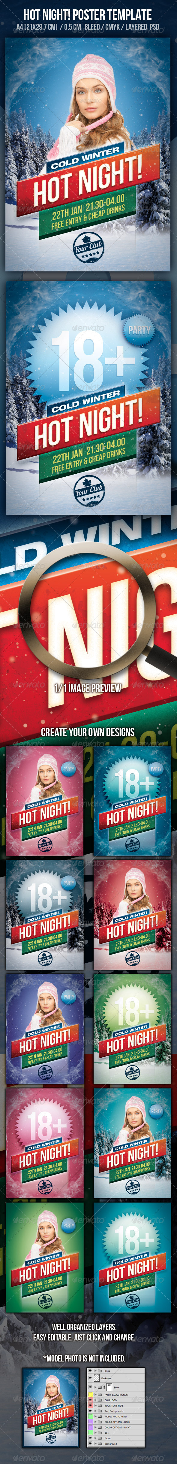 Hot Night Party Design Template - Clubs & Parties Events