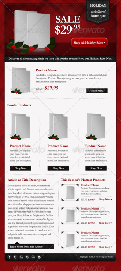 Light Holiday ECommerce Email Newsletter Template By FiftyStudios