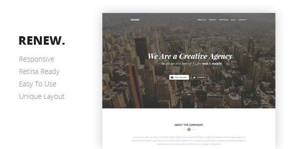 Lovely RENEW Creative One Page Template