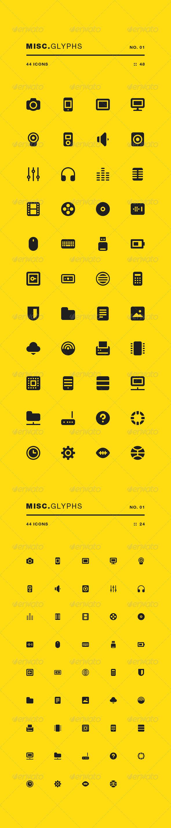 Misc Glyphs 01 - Web Icons