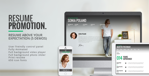 Promotion – Animated CV Resume Theme