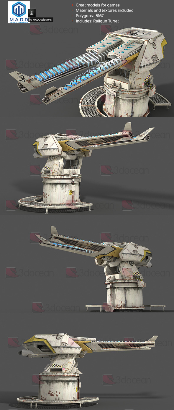 Railgun Turret - 3DOcean Item for Sale
